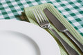 Table setting on green gingham table cloth place with empty plate knife and fork a background popular symbol for diners and cafes Royalty Free Stock Photos