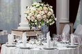 Table setting at a luxury wedding reception Royalty Free Stock Photo