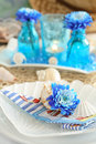 Table setting in maritime styl Stock Image