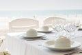 Table setting near beach restaurant Royalty Free Stock Photo
