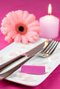 Table setting in pink Royalty Free Stock Image