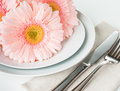Table setting with pink gerberas dining napkin and cutlery on a white background close up Royalty Free Stock Image