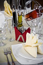 Table setting in restaurant Royalty Free Stock Photo