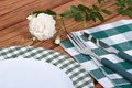 Table setting with a white rose flower Royalty Free Stock Photography
