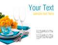 Table setting with yellow roses, ready template Royalty Free Stock Photo