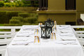 Table setup for people at terrace Royalty Free Stock Photography