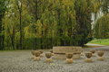 Table of silence made by constantin brancusi in targu jiu romania autumn landscape Stock Photo