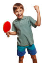 Table tennis athlete ping pong boy experiencing joy of victory winning success emotions Stock Photo