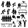 Table tennis player actions poses cliparts a set of stickman pictogram representing and postures they are also playing in double Royalty Free Stock Images