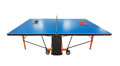 Table tennis table for the game. Racket and ball on it. Stock Photos
