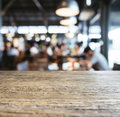 Table top counter bar restaurant interior blurred background wooden Stock Photos