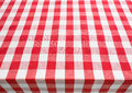 Table top view covered by red gingham tablecloth empty Stock Images