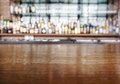 Table top wooden counter with Bar Blurred Background