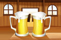 A table with two mugs of beer illustration Royalty Free Stock Photos
