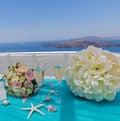 Table for the wedding ceremony greece island of santorini Stock Image