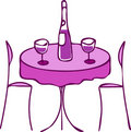 Table with wine and two chairs -romantic diner -2 Royalty Free Stock Photography