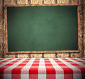 Tablecloth on chalkboard red green copy space for menu Royalty Free Stock Photo