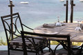 Tablecloth iron chairs and sea view greece terrace cafe with in Royalty Free Stock Photos