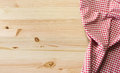 Tablecloth on table wooden with checkered for background Stock Images