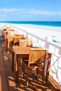 Tables at beach restaurant Royalty Free Stock Photos