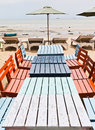 Tables, chairs, colorful seaside Royalty Free Stock Images