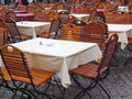 Tables and chairs of a dehors alfresco bar restaurant pub Royalty Free Stock Images