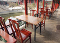 Tables chairs placed courtyard chinese ancient architecture Royalty Free Stock Photo
