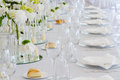 Tables decorated party wedding reception Stock Image