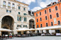 Tables outdoor restaurant on the Piazza della Signoria in Verona Royalty Free Stock Photo