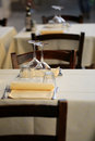 Tables set in restaurant Royalty Free Stock Photo