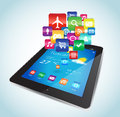 Tablet apps this vector image represents a with icons Stock Photo