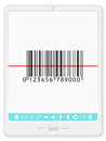 Tablet with barcode pc scanner on a white background Royalty Free Stock Image