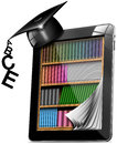 Tablet Bookcase Graduation Hat Royalty Free Stock Image