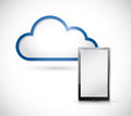 Tablet and border storage cloud illustration design over white Stock Photography