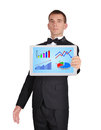 Tablet with business chart Stock Images