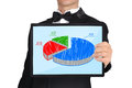 Tablet with business chart businessman in tuxedo holding Royalty Free Stock Photography