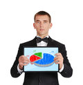 Tablet with business chart businessman in tuxedo holding Royalty Free Stock Photo