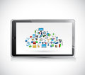 Tablet cloud computing icons illustration design over a white background Stock Photos