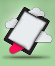 Tablet with clouds Royalty Free Stock Image