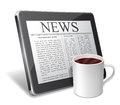 Tablet and coffee cup with newspaper on screen of Stock Photos