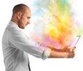 Tablet colour burst Royalty Free Stock Photo