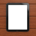 Tablet computer with blank screen on wooden background d rendering illustration Royalty Free Stock Photo