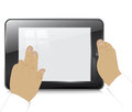 Tablet computer businessman hands white background Royalty Free Stock Images
