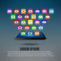 Tablet computer With Colorful application icon concept Stock Photos