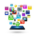 Tablet computer With Colorful application icon concept,isolated Royalty Free Stock Photos