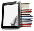 Tablet computer with pages and books black blank stack of on white background Royalty Free Stock Photo