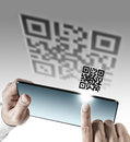 Tablet computer with Qr code scan Royalty Free Stock Photo