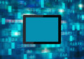 Tablet device over abstract digital background with copy space Royalty Free Stock Image