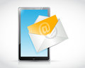 Tablet and email envelope illustration design over a white background Stock Images