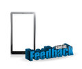 Tablet feedback d blue sign illustration design over white Royalty Free Stock Image